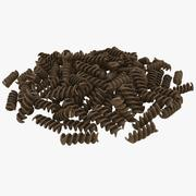 Dry Whole Wheat Spiral Pasta Pile 3d model