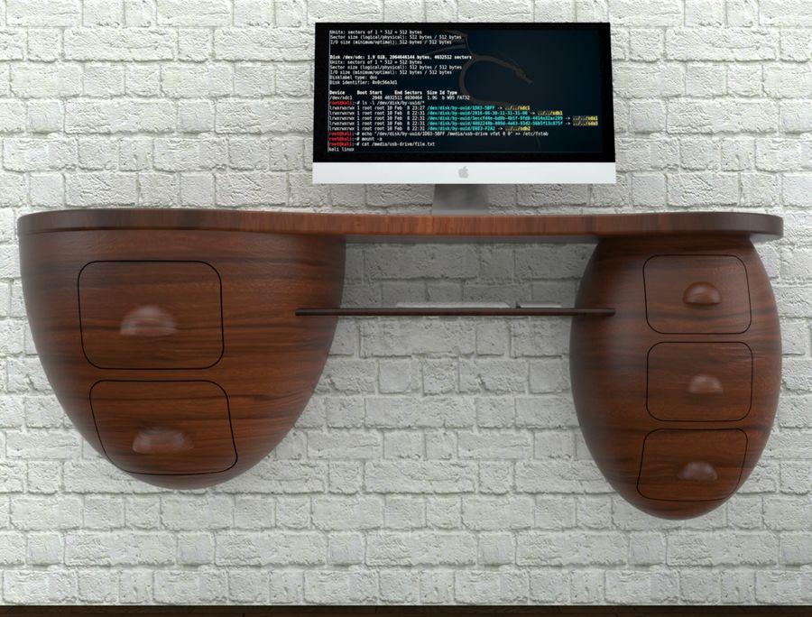 mesa de ordenador royalty-free modelo 3d - Preview no. 13
