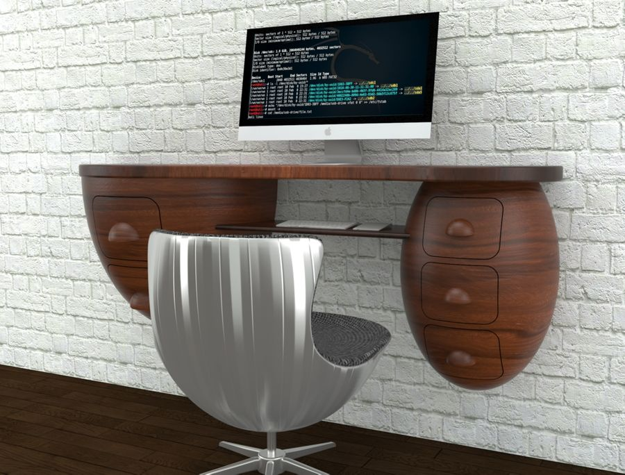 mesa de ordenador royalty-free modelo 3d - Preview no. 11