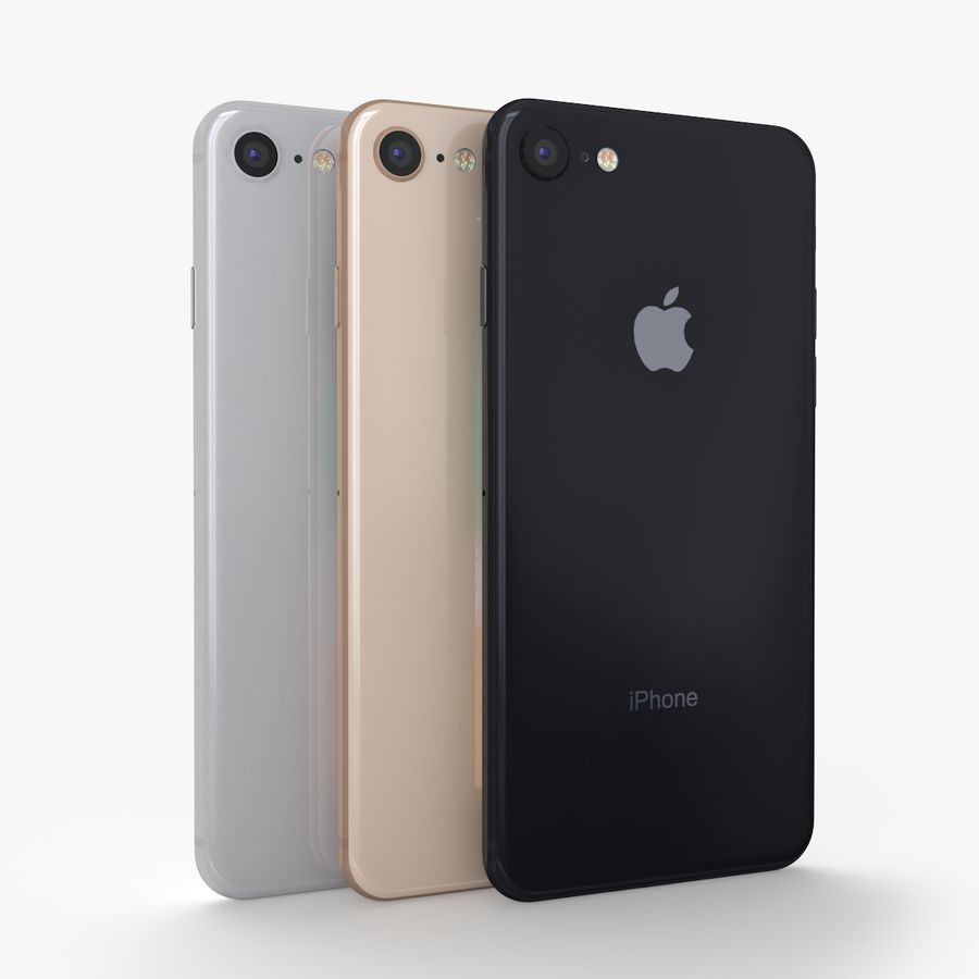 iPhone X + iPhone 8 + iPhone 8 Plus royalty-free 3d model - Preview no. 6