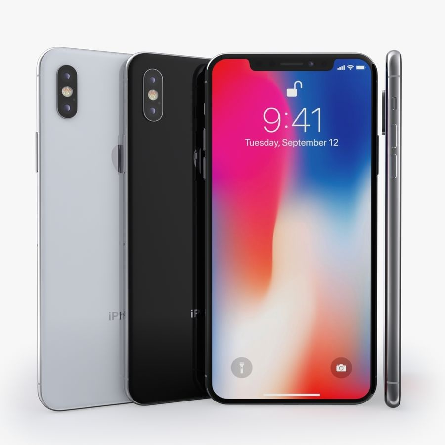 iPhone X + iPhone 8 + iPhone 8 Plus royalty-free 3d model - Preview no. 54
