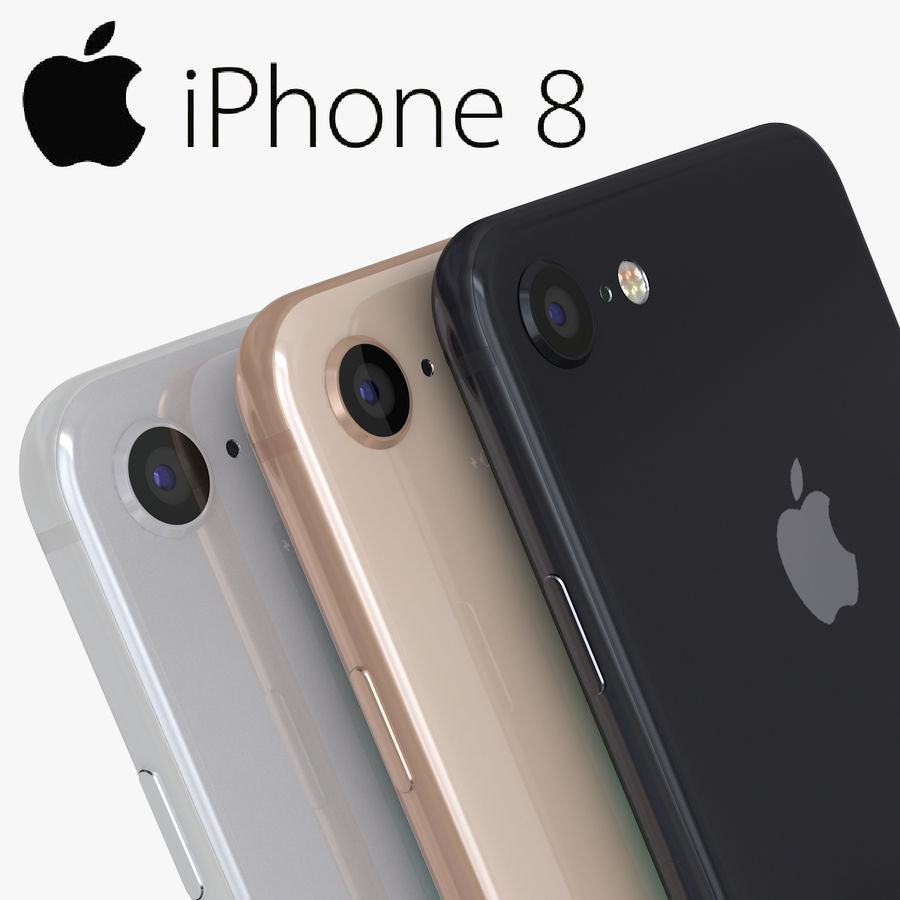 iPhone X + iPhone 8 + iPhone 8 Plus royalty-free 3d model - Preview no. 2