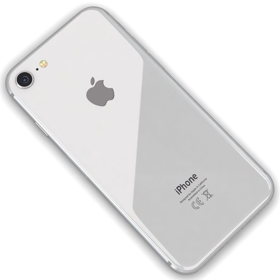 Apple iPhone 8 Gümüş royalty-free 3d model - Preview no. 11