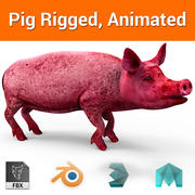 pink pig rigged, animated 3d model