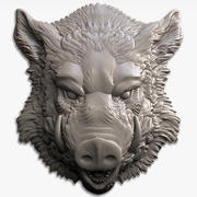 boar head relief for CNC 3d model