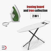 Ironing Board and Iron Collection 3d model