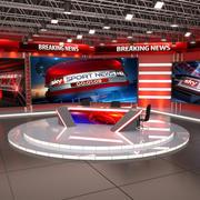 新闻电视演播室 3d model