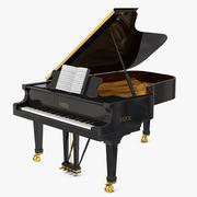 Grand Piano Fazioli with Music Notes Book 3d model