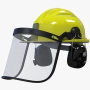 Bouwhelm + vizier + hoofdtelefoon 3d model