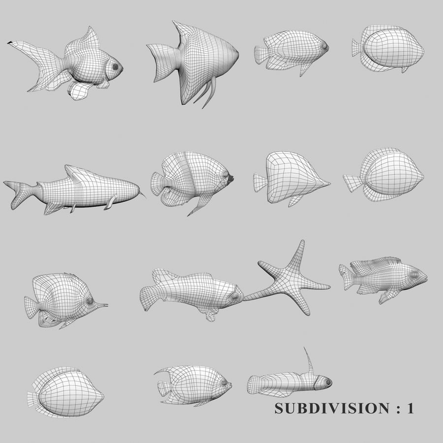 Aquarium Fish Collection Low Poly royalty-free 3d model - Preview no. 39