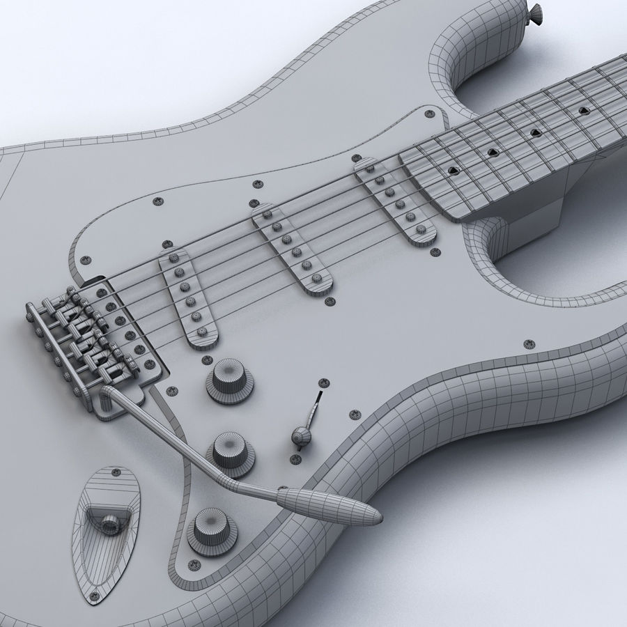 펜더 스트랫 기타 royalty-free 3d model - Preview no. 16