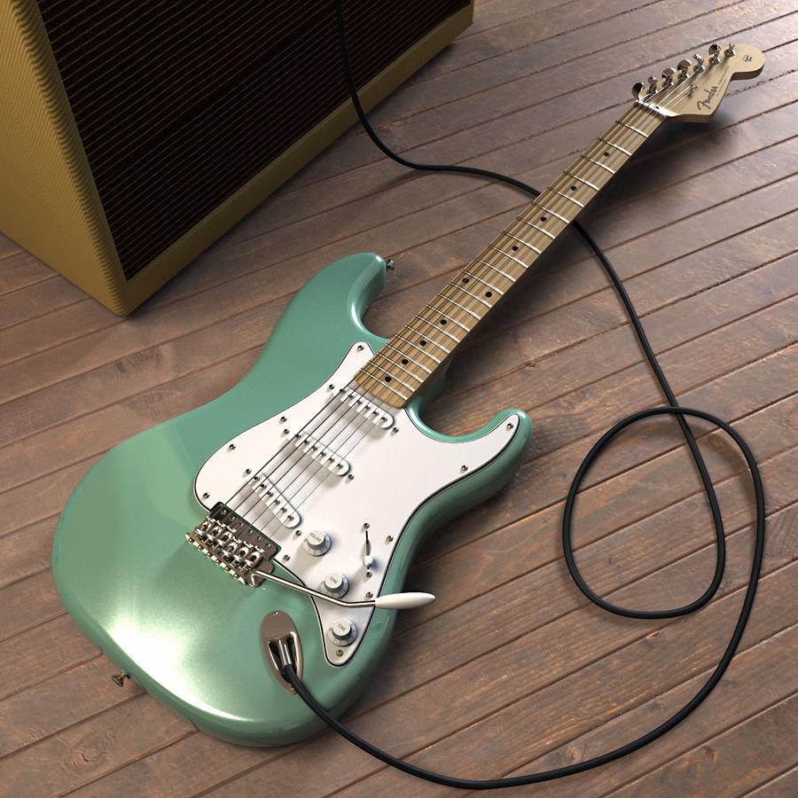 펜더 스트랫 기타 royalty-free 3d model - Preview no. 2