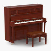 Upright Piano with Bench 3d model