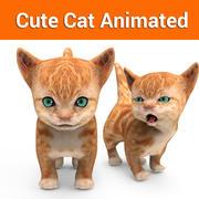 cute cat animated 3d model