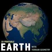 Earth with terrain geometry 3d model