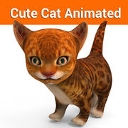 cute cat animated 3d model