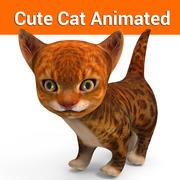 gato bonito animado 3d model