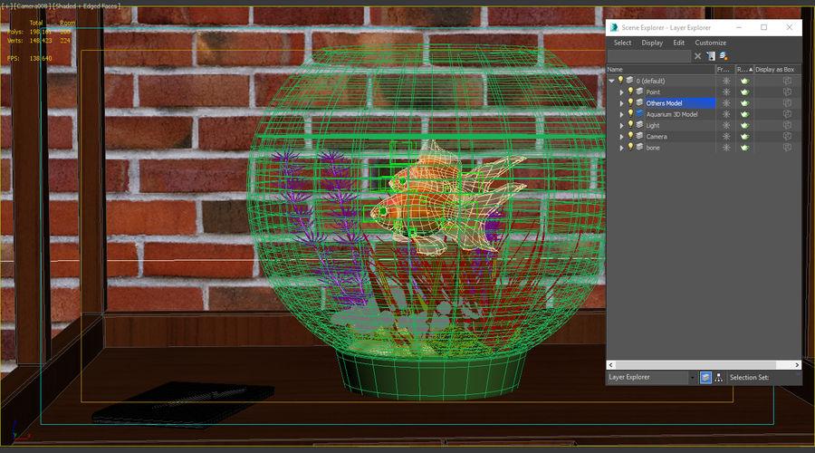 Gold Fish Aquarium Animated royalty-free 3d model - Preview no. 12