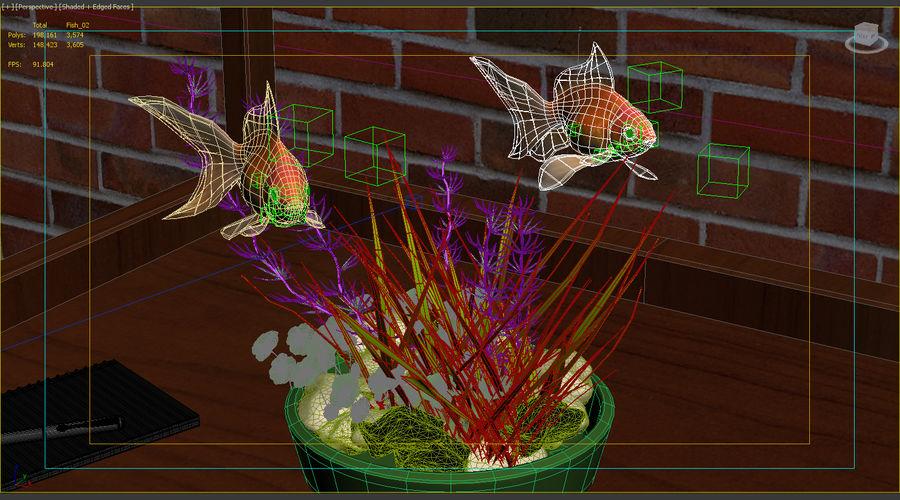 Gold Fish Aquarium Animated royalty-free 3d model - Preview no. 13