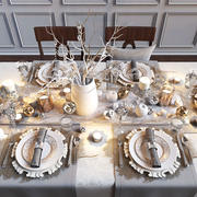 Holiday table serving 3d model