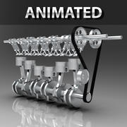 Engine Animated Inline 6-Cylinder Inline Dual Overhead Camshaft ( DOHC) Engine 3d model