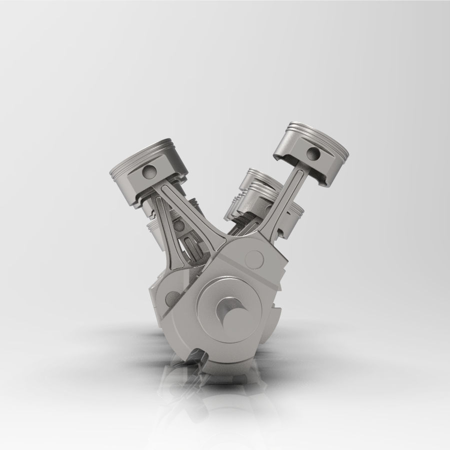 Silnik V12 animowany royalty-free 3d model - Preview no. 5
