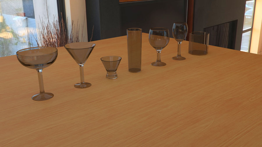 Alcohol glass collection royalty-free 3d model - Preview no. 1