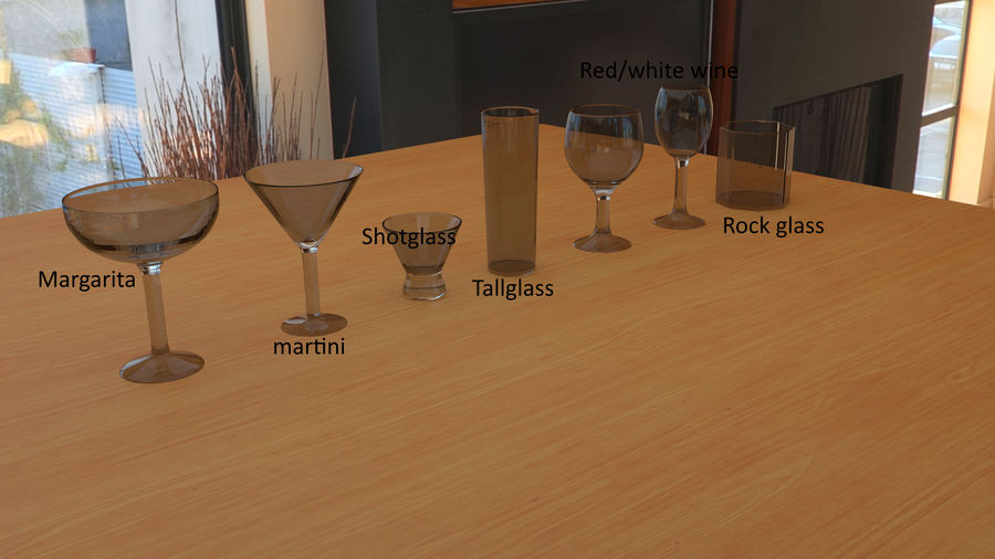 Alcohol glass collection royalty-free 3d model - Preview no. 10
