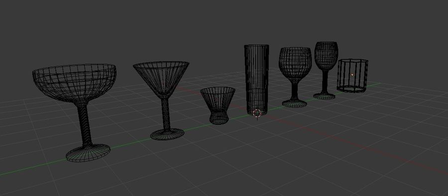 Alcohol glass collection royalty-free 3d model - Preview no. 2