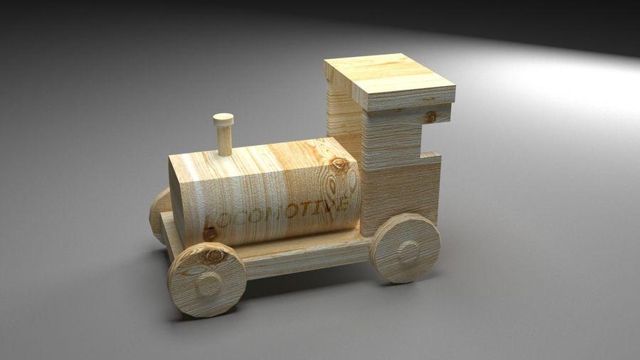 木製機関車おもちゃ royalty-free 3d model - Preview no. 1