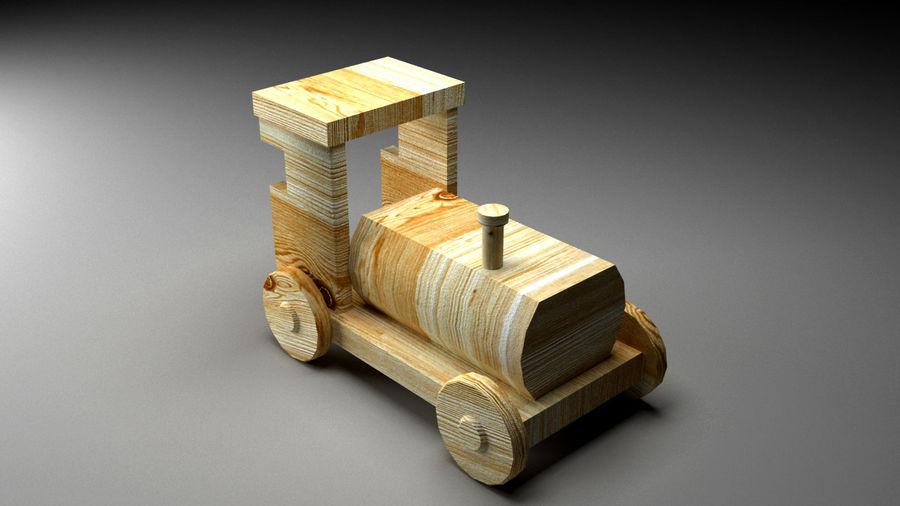 木製機関車おもちゃ royalty-free 3d model - Preview no. 4