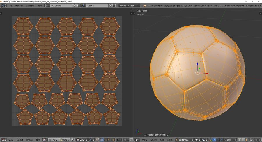Football Soccer Ball 2 royalty-free 3d model - Preview no. 11
