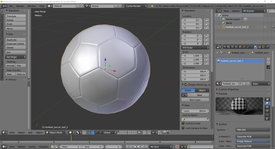 Football Soccer Ball 2 royalty-free 3d model - Preview no. 10