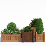 목재 목재 화분 3d model