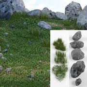 Kit de piedras y hierba modelo 3d
