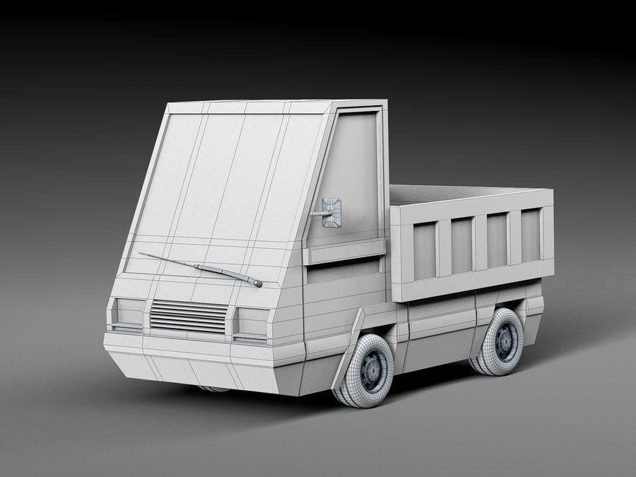 Cartoon elektryczny samochód v2 royalty-free 3d model - Preview no. 7
