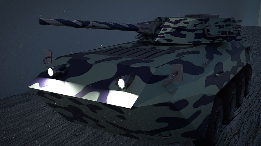 Urban AMV Armored Mortar Vehicle Urban-versie royalty-free 3d model - Preview no. 3