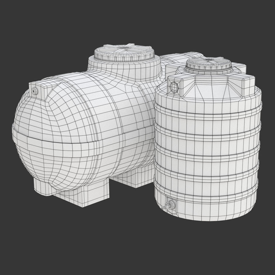 Plastic wateropslagtanks royalty-free 3d model - Preview no. 14