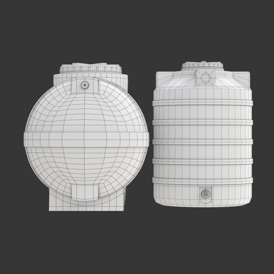 Plastic wateropslagtanks royalty-free 3d model - Preview no. 18