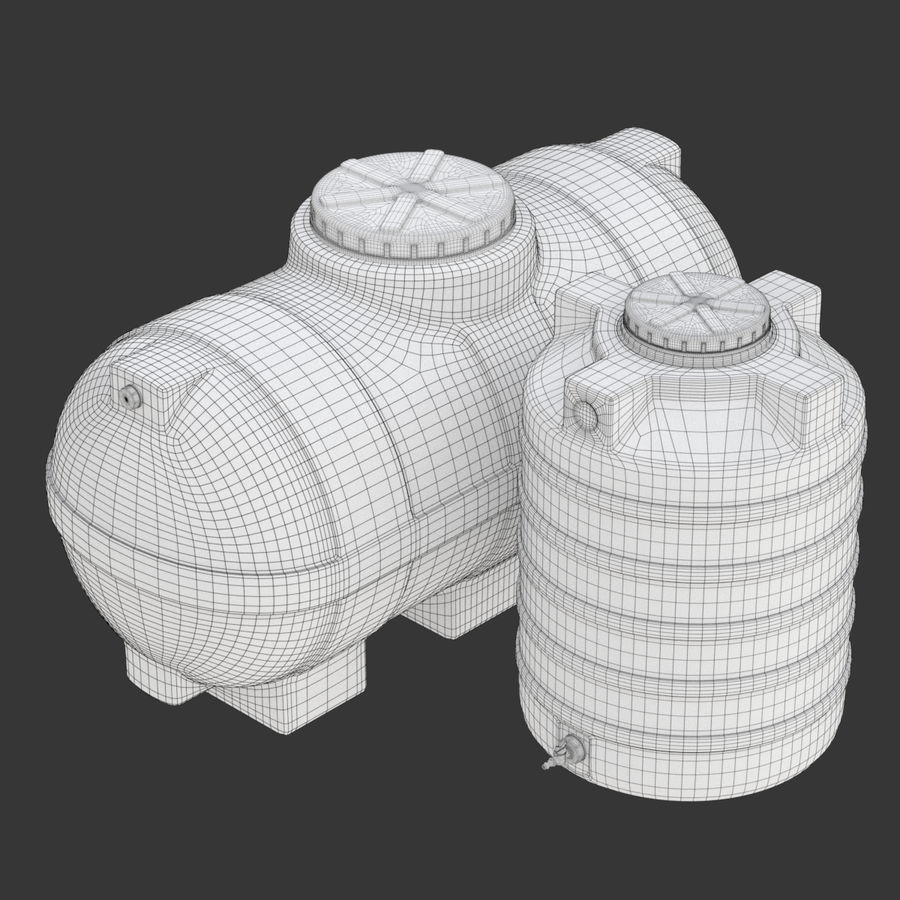 Plastic wateropslagtanks royalty-free 3d model - Preview no. 21