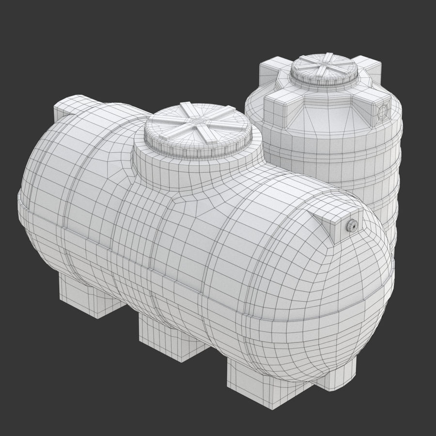 Plastic wateropslagtanks royalty-free 3d model - Preview no. 17