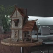 Hausszene im Cartoon-Stil 3d model