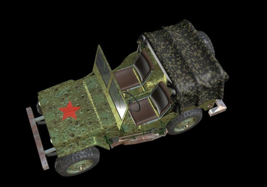 Russischer Militärjeep royalty-free 3d model - Preview no. 6