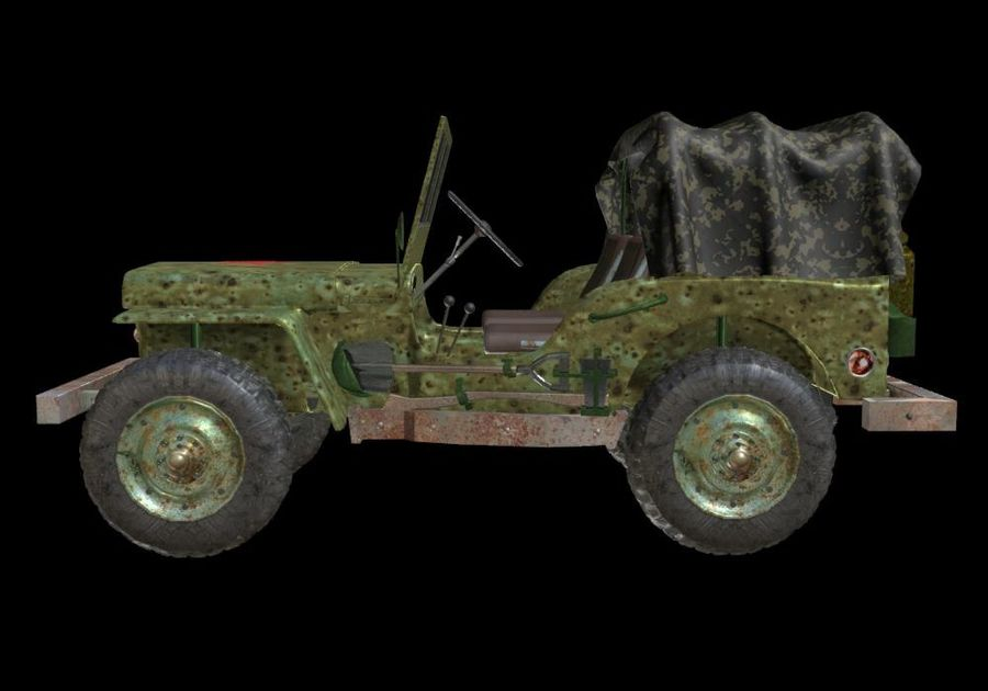 Russischer Militärjeep royalty-free 3d model - Preview no. 7