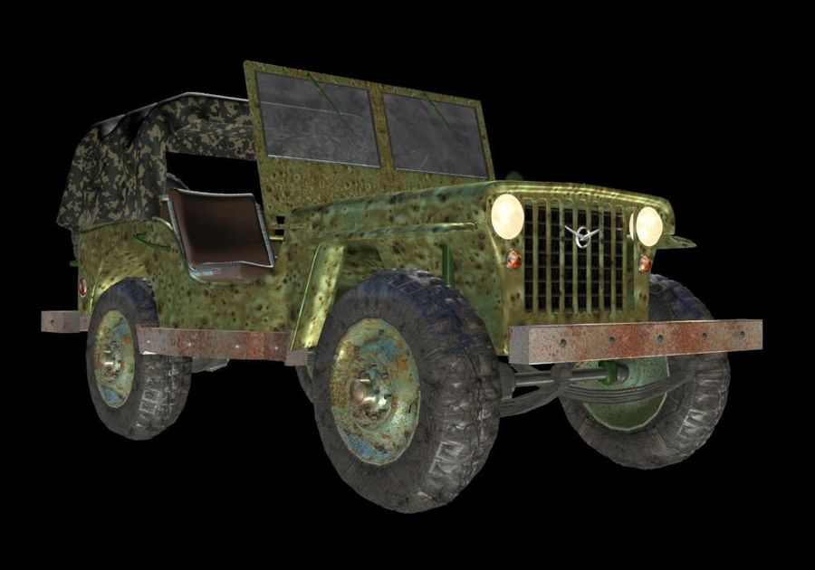 Russischer Militärjeep royalty-free 3d model - Preview no. 5