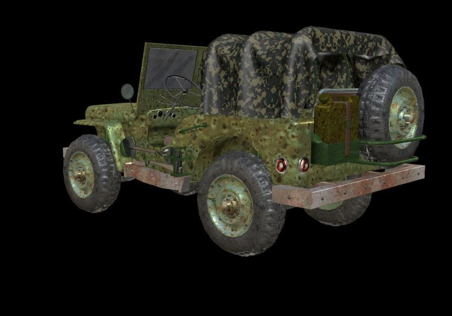 Russischer Militärjeep royalty-free 3d model - Preview no. 4