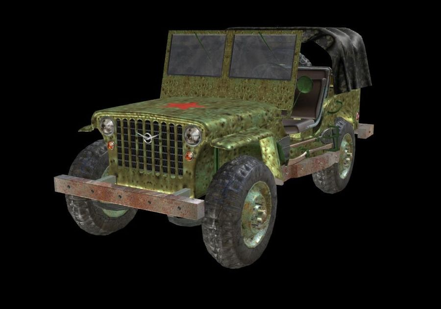 Russischer Militärjeep royalty-free 3d model - Preview no. 2