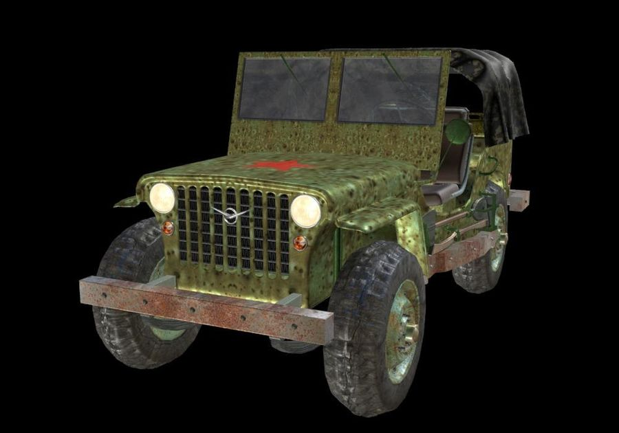 Russischer Militärjeep royalty-free 3d model - Preview no. 10