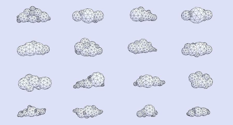 Pack de nuages LowPoly royalty-free 3d model - Preview no. 5