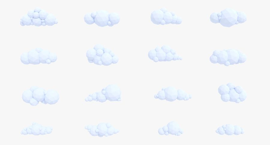 Pack de nuages LowPoly royalty-free 3d model - Preview no. 2